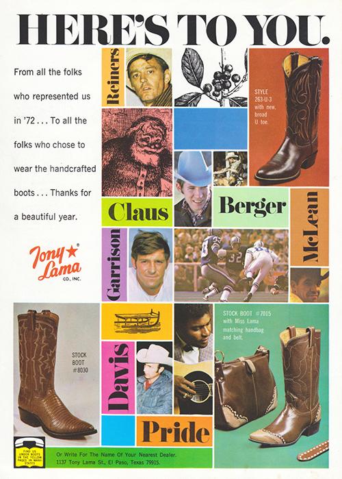 Tony Lama Cowboy Boots - Tony Lama Advertising Poster