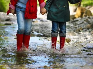 Women's Waterproof Boots - Two girl wearing their rain boots