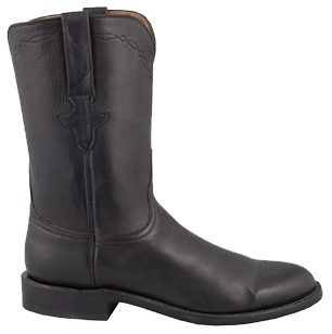 LUCCHESE MEN'S BLACK BURNISHED JERSEY CALF ROPER HANDMADE COWBOY BOOTS