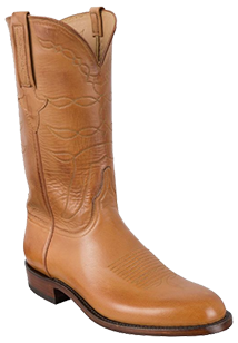 LUCCHESE MEN'S SAND BURNISHED BABY BUFFALO ROPER HANDMADE COWBOY BOOTS