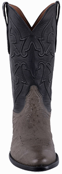 Discount Boots BLACK JACK FOR PINTO RANCH MEN'S BURNISHED GRAY SMOOTH OSTRICH COWBOY BOOTS