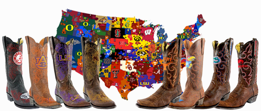 college logo cowboy boots - USA flag with college teams listed and assortment of college logo boots