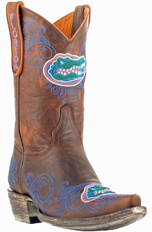 "Collegiate Cowboy Boots - Florida Gators Women's 10"" Embroidered Boots - Tan"