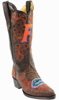 "Collegiate Cowboy Boots - Florida Gators Women's 13"" Embroidered Boots - Brown"