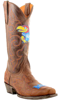 college logo cowboy boots - Kansas Jayhawks Original Embroidered Men's Cowboy Boots