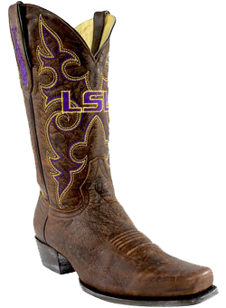 LSU Tigers Boardroom Embroidered Men's Cowboy Boots