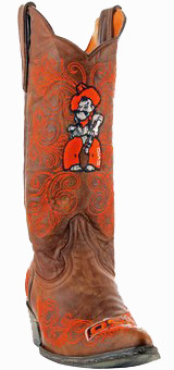 "Oklahoma State Cowboys Women's 13"" Embroidered Boots - Tan"