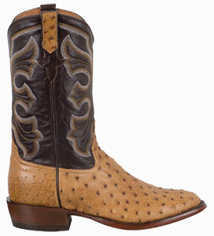 RIOS OF MERCEDES MEN'S ANTIQUE SADDLE FULL-QUILL OSTRICH BOOTS
