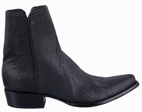 Discount Boots STALLION MEN'S ZORRO BLACK LIZARD ANKLE BOOTS