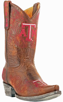 "Collegiate Cowboy Boots - Texas A&M Aggies Women's 10"" Embroidered Boots - Tan"