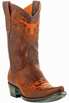 """Texas Longhorns Women's 13"""" Embroidered Boots - Tan"""