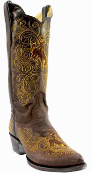 "Collegiate Cowboy Boots - Wyoming Cowboys Women's 13"" Embroidered Boots - Brown"