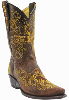 "College Cowboy Boots - Wyoming Cowboys Women's 10"" Embroidered Boots - Brown"