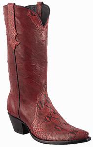 STALLION WOMEN'S DARK RED PYTHON COWGIRL BOOTS
