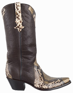 STALLION WOMEN'S GOLD PAINTED PYTHON BOOTS
