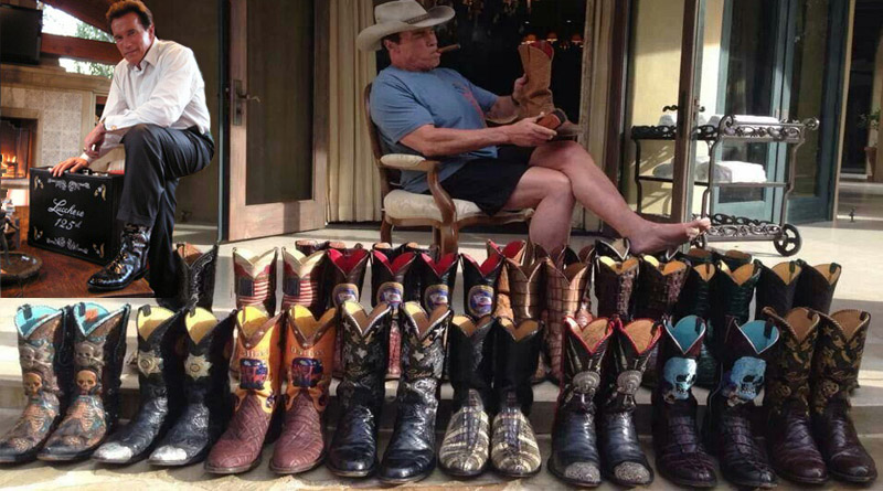 Arnold Schwarzenegger Sporting his Lucchese Handmade boot collection