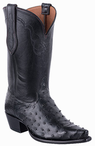 TONY LAMA SIGNATURE SERIES WOMENS BLACK FULL QUILL OSTRICH BOOTS