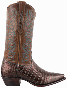 TONY LAMA WOMENS BRONZE AND TURQUOISE NILE CROCODILE BELLY COWBOY BOOTS