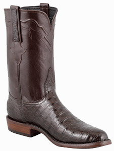 LUCCHESE MEN'S CHOCOLATE ULTRA CAIMAN CROCODILE ROPER BOOTS