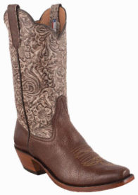 WOMENS KANGO TOBACCO MAD DOG SMOOTH OSTRICH TOOLED HANDMADE COWBOY BOOTS