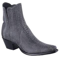 WOMEN'S BLACK NUBUCK OSTRICH LEG ZORRO BOOTS