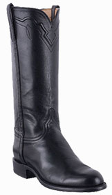 LUCCHESE WOMENS BLACK BABY BUFFALO ROPER BOOTS