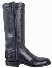 HANDMADE LUCCHESE WOMEN'S NAVY BURNISHED BABY BUFFALO ROPER BOOTS