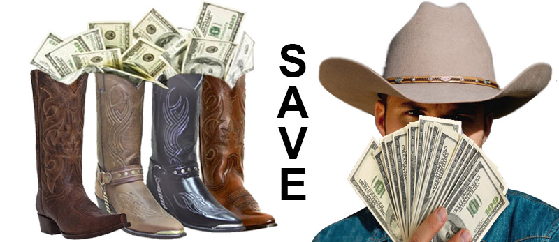 Save on discounted men's handmade cowboy boots!