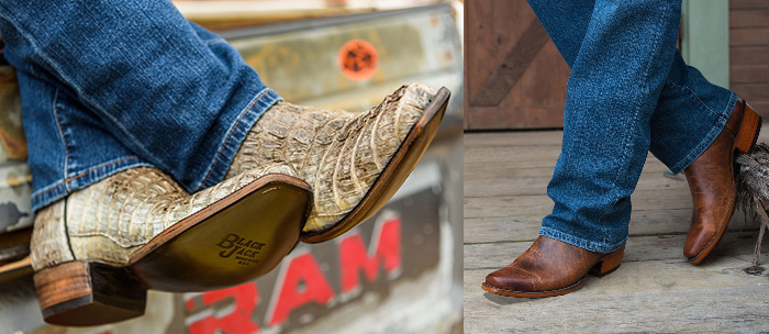 Black Jack Cowboy Boots - Peanut Mad Dog Boots and Caiman Tail