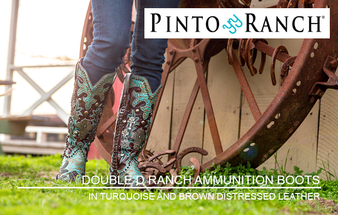 DOUBLE D RANCH WOMEN'S AMMUNITION HANDMADE BOOTS IN TURQUOISE AND BROWN DISTRESSED LEATHER