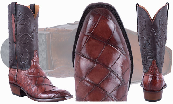 Lucchese American Alligator Boots - Three views of Lucchese cowboy boots
