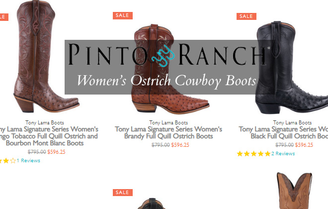 Womens Ostrich Cowboy Boot - Featured Image