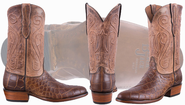 Alligator Cowboy Boots Sale - BLACK JACK EXCLUSIVE PULL UP TAN AMERICAN ALLIGATOR BOOTS