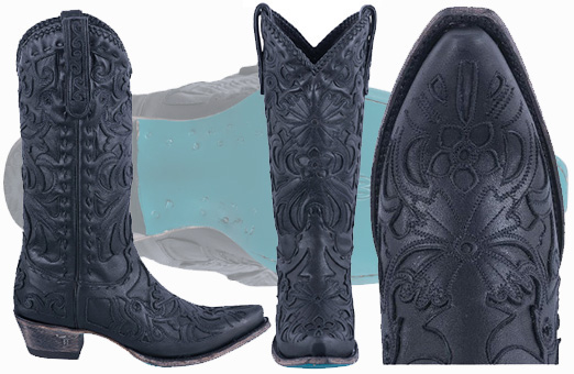 Best Women's Cowgirl Boots - LANE BLACK INLAID ROBIN