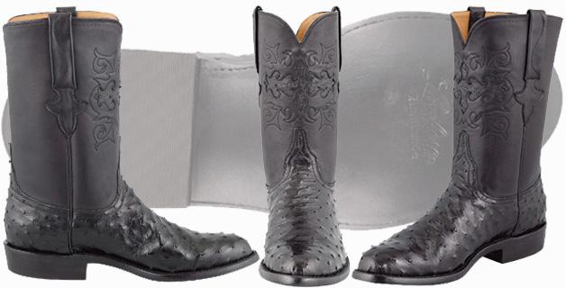Ostrich Cowboy Boots Men - Lucchese Men's Black Full Quill Ostrich Roper Boots