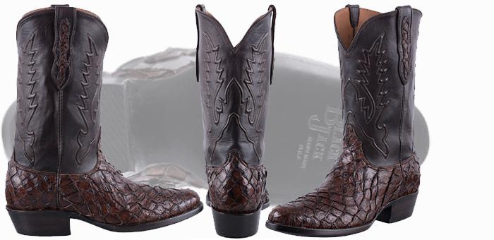Pirarucu Boots Sale - BLACK JACK PIRARUCU FISH COWBOY BOOTS IN CHOCOLATE