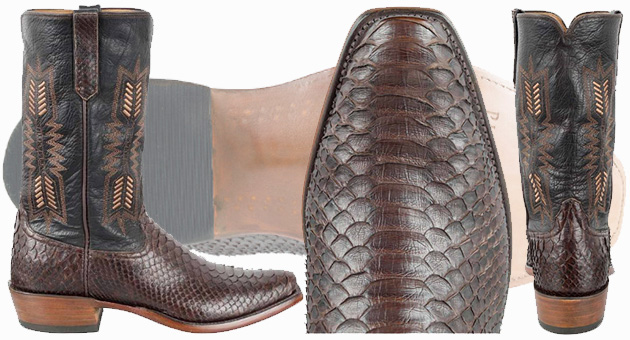 Python Cowboy Boots For Men - RIOS OF MERCEDES MEN'S CHOCOLATE PYTHON BOOTS