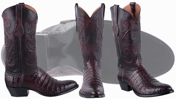 Tony Lama Boots Men - TONY LAMA SIGNATURE SERIES MEN'S BLACK CHERRY Caiman Cowboy Boots