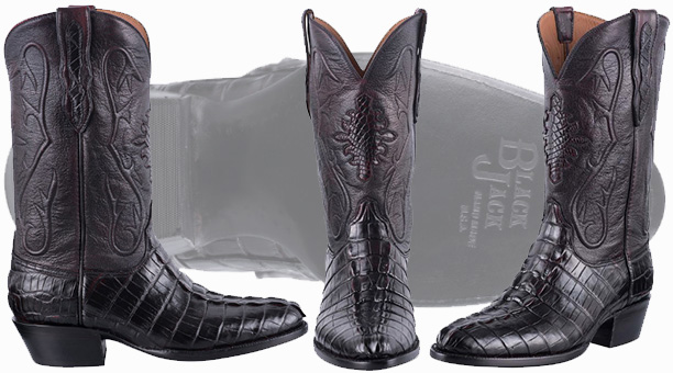 Black Jack Boots Sale - BLACK CHERRY HORNBACK ALLIGATOR TAIL