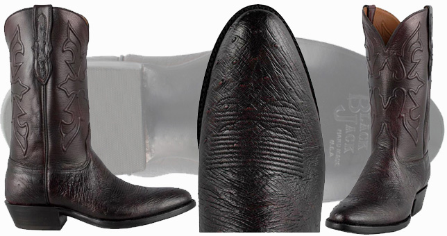 Black Jack Boots Sale - BLACK CHERRY SMOOTH OSTRICH BOOTS