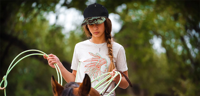 Girl Wearing Rhinestone Ball Cap