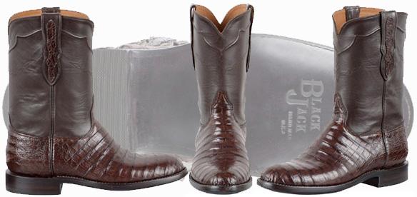 Roper Cowboy Boots For Men - Black Jack Caiman