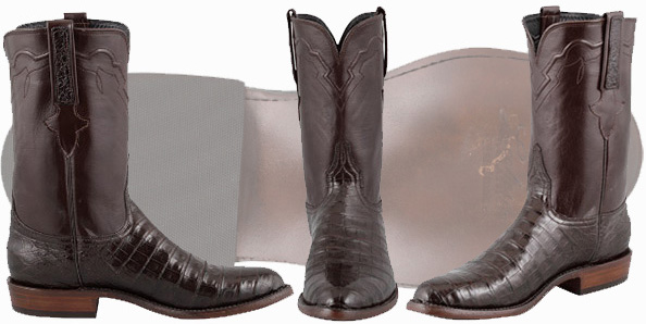 Roper Cowboy Boots For Men - Lucchese Chocolate Caiman