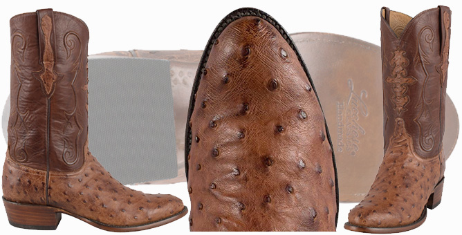Ostrich Cowboy Boots For Men - LUCCHESE BARNWOOD