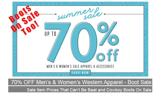 70% Western Wear Sale Men & Women - Cowboy Boot Sale